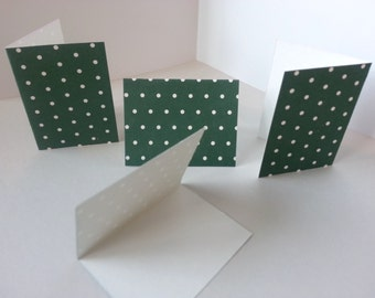 Sets of 4 - Dark Green with White Dots Folded Gift Tags