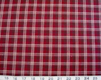 Fabri-Quilt, Tartan Plaid, Red-White-Black Woven Plaid, Sold by the HALF Yard