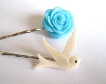 Pretty Swallow & Flower Hair Slides, Grip, Accessories, Dove, Bird, Bobby Pin, Summer