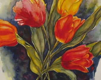 "This is a print of my original watercolor painting simply titled "" Tulip Bouquet"".5x7,8x10,11x14,16x20, wrapped canvas, note cards"
