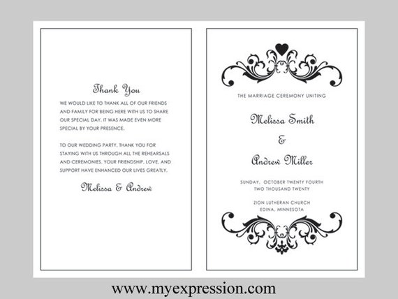 Wedding program template bifold black vintage by myexpressionshop for Bi fold template word