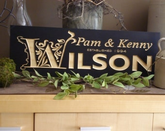 Personalized Family Last Name Carved Wooden Sign Personailzed Bridesmaid Gifts Wedding Gift Established Signs Wood Plaque Welcome