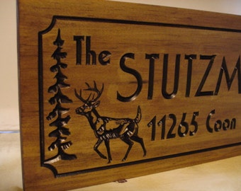 Personalized Lake Sign, Welcome Signs, Pine Tree, Pine Cone, Deer,  wood carved Sign,  Outdoor Wood Sign, Custom Signs , Lake house Address