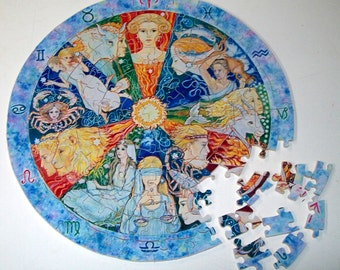 "Round Jigsaw Puzzle ""Signs of the Zodiac"""