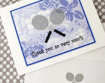 "Tennis Cards, Tennis Thank You  Cards, Tennis Note Cards ""Tropical Thank You"" #388"