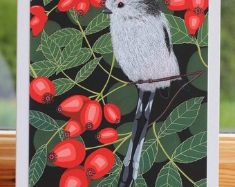 Long tailed tit - Greeting card hand titled and signed