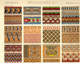 """1800s Renaissance No. 7 Page from """"The Grammar of Ornament"""" by Owen Jones, Original Page, Fabulous Patterns"""