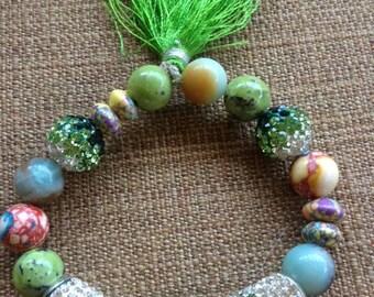 Swarovski Crystal stretch bracelet in the green tones
