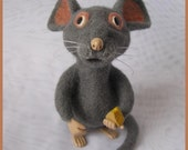 "OOAK needle felted artist collectible figurine 4.8"" (12.2cm) handmade Mouse - AKazin"