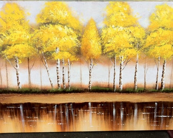 """BIRCH TREES - Original Oil Painting - 24"""" X 36"""" Mounted"""