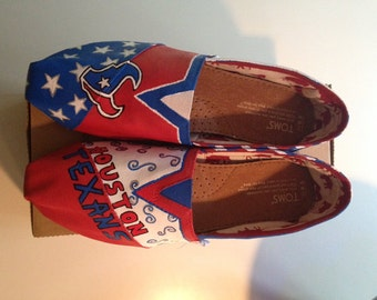 Hand Painted Houston Texans Toms- NOTE: Personalized to any design, college, or character(s) you want
