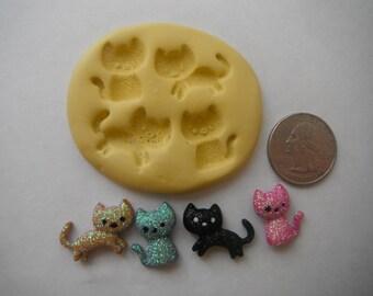 Four Part Kitten/Cat Flexible Silicone Mold-makes 4 kitten/cats