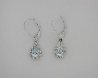 Pear Shape Natural Aquamarine With Natural Diamond Dangle Earrings Solid 14kt Gold. March Birthstone