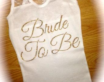 White Bride Tank. Gold Rhinestone Bride To Be Tank Top. Bride Tank Top. Bride half lace Tank Top. Bridesmaid Tank Tops. Weddings. Bride.