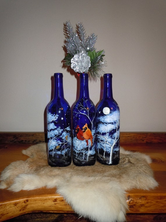 Items Similar To Hand Painted Wine Bottle With Cardinals