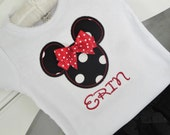 Personalized Minnie Mouse Shirt or bodysuit- Minnie Mouse Birthday Shirt- Red and Black Minnie- Disney Vacation Shirt- Photo Prop