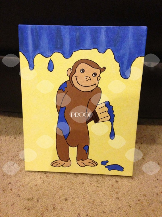 Items similar to curious george painting on etsy for Curious george mural
