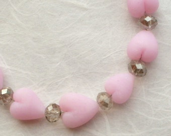 Pretty pink hearts and crystal bracelet