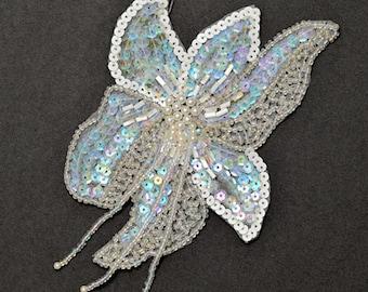 Flower Beaded Sequin Applique patch, Bridal Applique, 3-1/2''W x 5-1/2''H, ROI-22783A