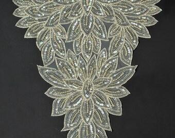 Pearl Beaded Sequin Applique, Bridal Applique, 14-1/2''W x 21''H, ROI-44211