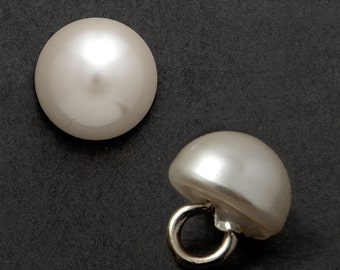 8mm Round  Pearl Button with Shank by 6 PCS, GN-4583
