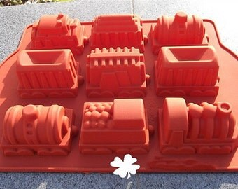 9-Trains soap mold mould jewelry molds Flexible Silicone Mold polymer clay mold Cake Mold Chocolate Mold Biscuit Mold Resin Mold mould