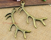 5pcs-- Antler charms,Antique bronze  Large 3D Deers Antlers Charms Pendants 68x32mm