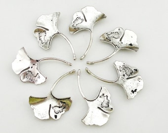 Ginkgo Leaf - Antique Silver Plated Ginkgo Leaf Connector Pendant Charm - 46x31mm - 5 pcs - A001