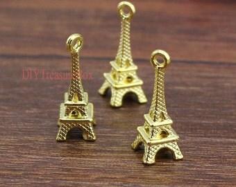 20pcs--Eiffel Tower charms,Golden Eiffel Tower Charm Pendant 23x8mm