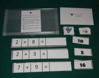 Single Digit Addition using manipulatives-Teacher Made math game-Education classroom center-resource tool-file folder game-learning activity