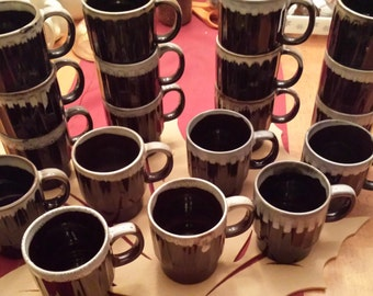 Vintage Made in Japan Brown Drip Coffee Stacking Mugs
