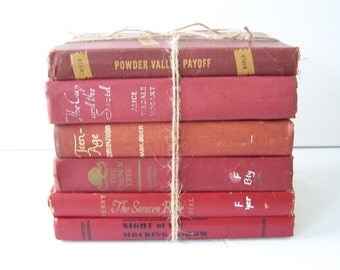 Vintage Book Collection FREE SHIPPING Red Tones