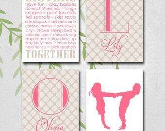 Wedding Gift For Twin Sister : ... Sisters, Pink and Brown Nursery, Twin Girls, Baby Gift, New baby Gifts
