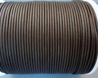 2mm Dark Brown  leather cord - 20 yards