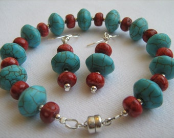 Turquoise Magnesite and Red Magnesite Bracelet and Earring Set