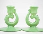 Upcycled Jadite Green Vintage Fostoria Glass Candlesticks