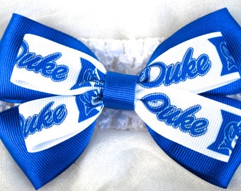 Duke Baby Girl Bow With Headband - Stacked Handmade Bow For Little Duke Fans - Blue Devils Bow