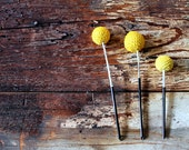 Three Yellow Pom Poms (Terrarium Use)