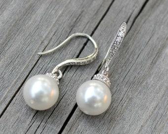 Bridal, wedding jewelry graduation anniversary cocktail bride fancy earrings white swarovski round shape pearl cubic zirconia