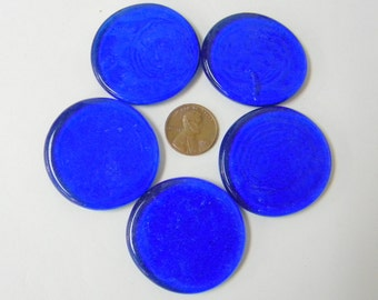 5 Large Cobalt Blue THIN Glass Wafers Gems, Victory 0405