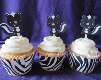 Skunk Party Picks -  Party Pick Cupcake Toppers - Hand Punched - Decoration, Parties, Cupcake Toppers