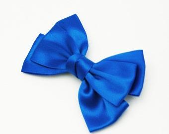 Ribbon bow hair clip - Electric Blue