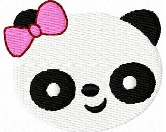 Panda with Bow Mini Embroidery Design