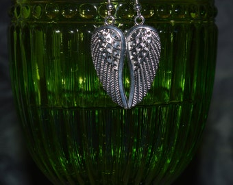 Silver Dangle Angel Wings Earrings