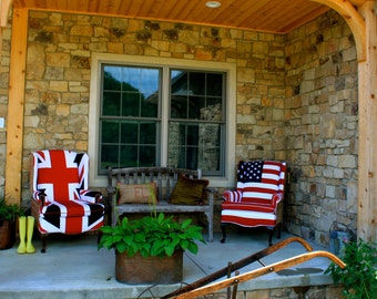 Flag Chair - vintage wing back chairs recovered with heavy cotton in the national flag of your choice