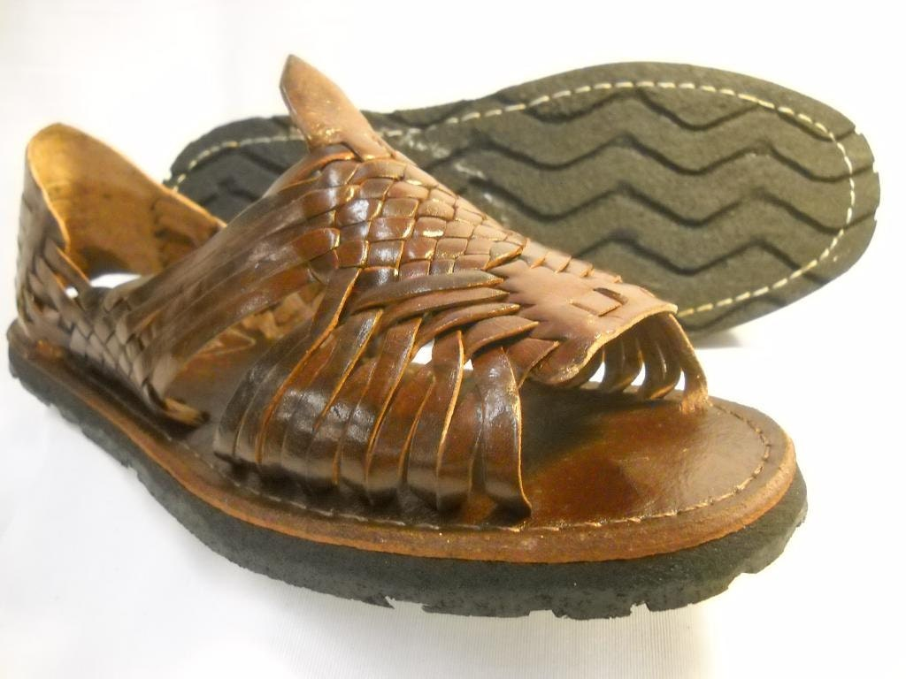 a2962a8bded7 MENS Brown Leather Huarache Sandals vintage style size by vvmexico