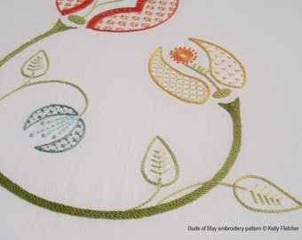 Buds of May modern hand embroidery pattern - modern embroidery PDF pattern, digital download