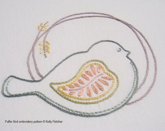 Puffer Bird modern hand embroidery pattern - modern embroidery PDF pattern, digital download