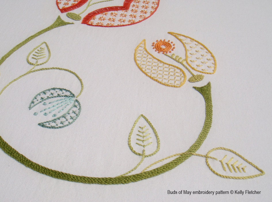 Buds of may modern hand embroidery pattern