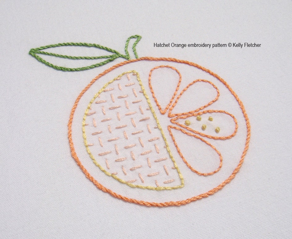 Hatchet orange modern hand embroidery pattern